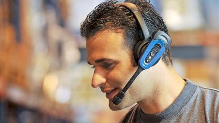 Man wearing Vocollect VoiceLink technology