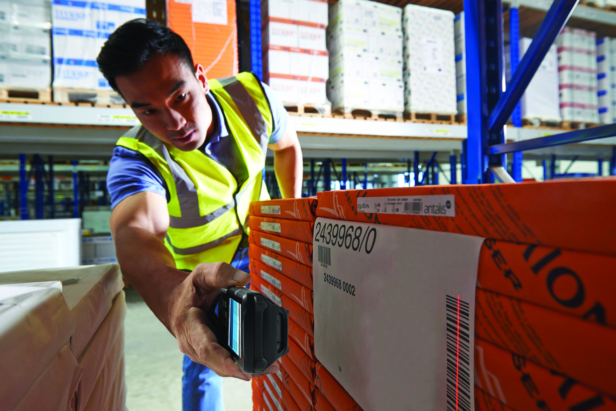 Man using Android Voice Directed Warehousing Solutions